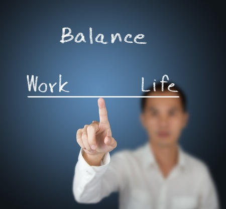 work life balance: business man balance his work and life on finger tip