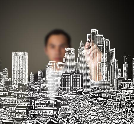 baustellen: Gesch�ftsmann Zeichnen st�dtischen Bebauung Stadt am Whiteboard