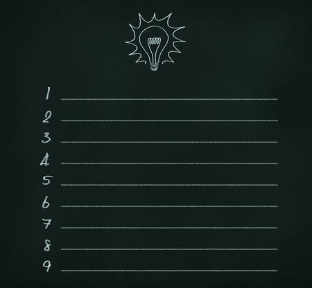 blank idea list on chalkboard photo