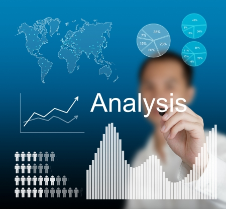 information analysis: business man writing data analysis