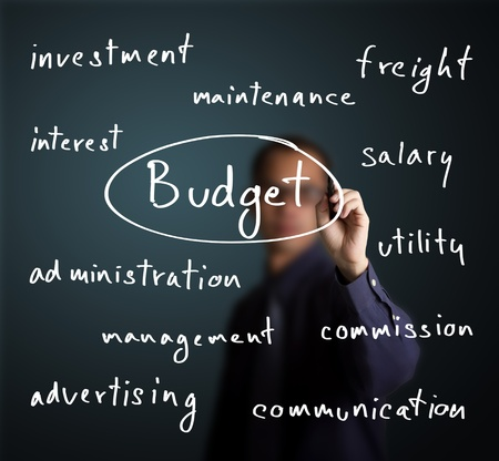 wages: business man writing budget allocation concept