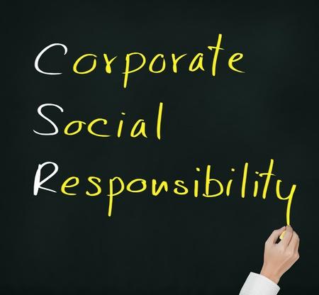 csr: de escritura a mano de responsabilidad social corporativa concepto de RSE en la pizarra Foto de archivo
