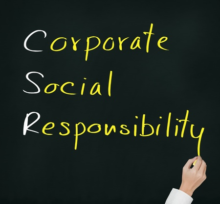 responsibilities: hand writing corporate social responsibility   CSR   concept on chalkboard