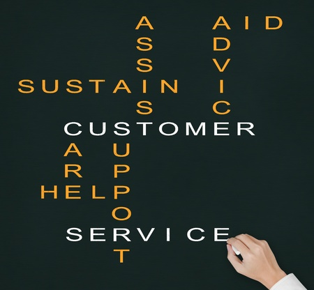 sustain: hand writing customer service concept   assist - aid - advice - care - help - sustain - support   crossword on chalkboard Stock Photo