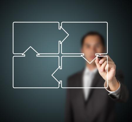 diagrama procesos: hombre de negocios de dibujo diagrama del ciclo de cuatro pasos