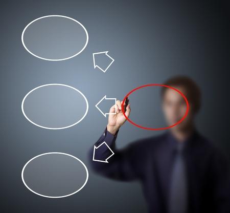 disperse: businessman drawing dispersive diagram