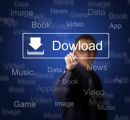 download music: business man pressing download button on touch screen to obtain data from internet