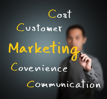 business man writing modern marketing concept customer - cost - convenience - communication Stock Photo - 13241765