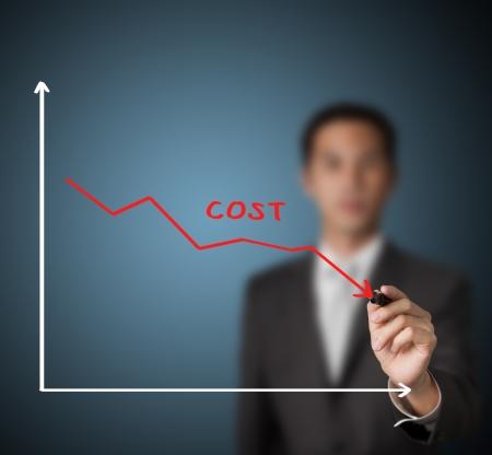 zakenman tekening grafiek van kostenreductie Stockfoto