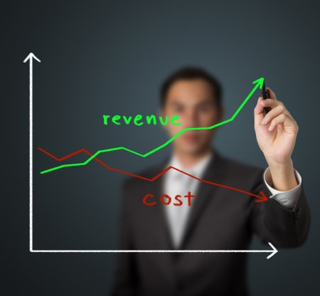 business man drawing graph of revenue compare with cost photo