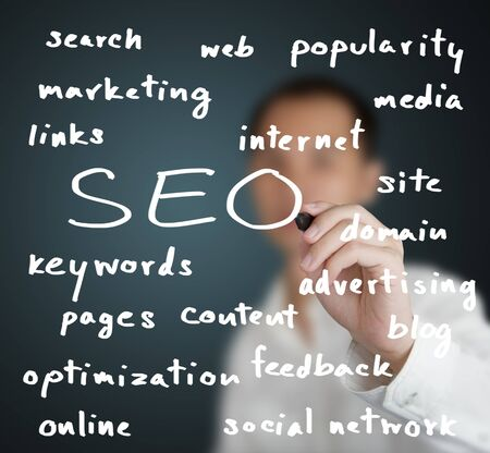 business man writing internet marketing concept of search engine optimization ( SEO ) photo