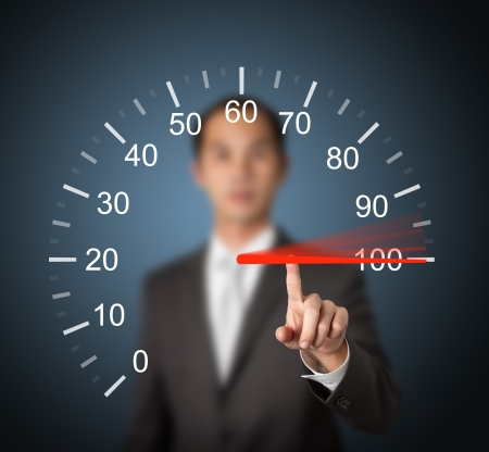 conquer: business man pointing at 100 percent speed