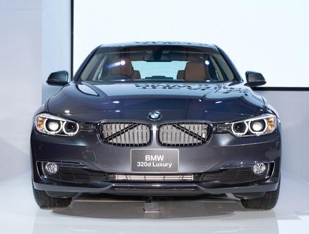 BANGKOK - MARCH 29: BMW 320d Luxury car on display at the 33rd Bangkok International Motor Show on March 29, 2012 in Bangkok, Thailand. Stock Photo - 13244864