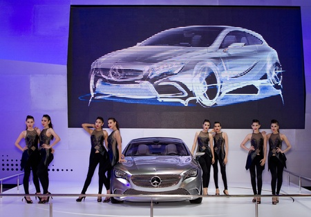 BANGKOK - MARCH 29: Mercedes Benz class A concept car with unidentified models on display at the 33rd Bangkok International Motor Show on March 29, 2012 in Bangkok, Thailand. Stock Photo - 13244881
