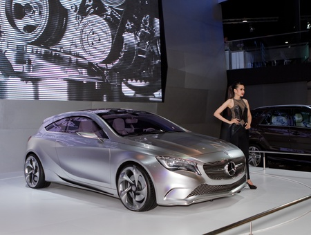 BANGKOK - MARCH 29: Mercedes Benz class A concept car with unidentified model on display at the 33rd Bangkok International Motor Show on March 29, 2012 in Bangkok, Thailand.