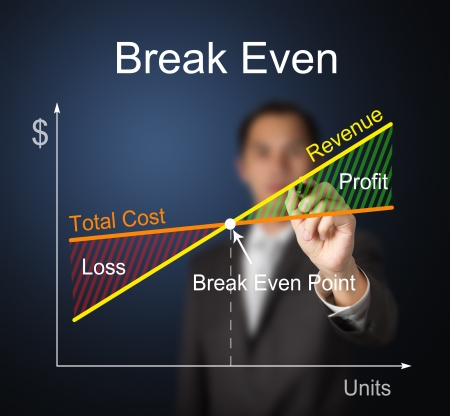 business man writing financial or accounting break evan graph which balance cost and revenue photo
