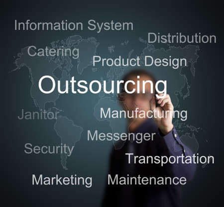 business man writing outsourcing concept for business with world map background Stock Photo - 13282218