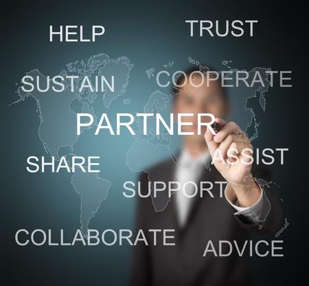 personas ayudando: hombre de negocios por escrito concepto de socio para los negocios con el fondo del mapa del mundo