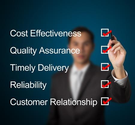 zakenman vul het antwoord voor high performance product-en service-industrie