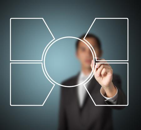 médula: hombre de negocios por escrito diagrama en blanco de un núcleo y de cuatro componentes relacionados