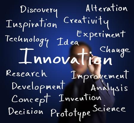 innovacion: hombre de negocios por escrito la innovaci�n concepto Foto de archivo