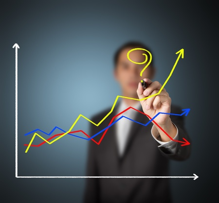 business man asking question - How to make the different success ?  by writing question mark on highest growth financial graph Stock Photo - 13338267