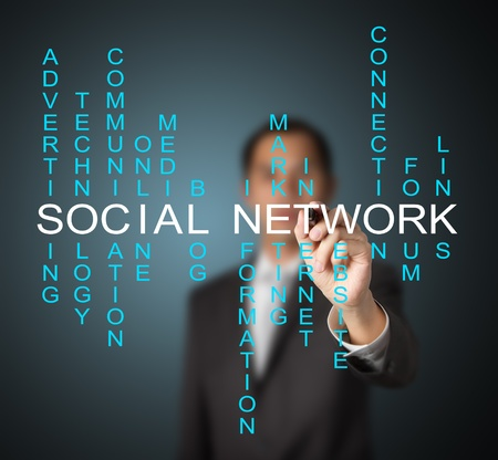 relate: business man writing social network concept by crossword of relate word such as internet, technology, advertising, online, marketing etc. Stock Photo