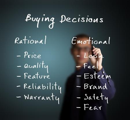 hombre de negocios por escrito concepto de marketing - la decisión de compra depende de la ración y la emoción los diversos Foto de archivo