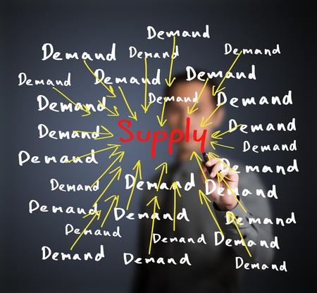 imbalance: zakenman het schrijven van economische korte marktconcept Stockfoto