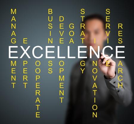 ビジネス男のクロスワード パズルの専門家、開発、戦略、研究等のような関連単語のでチームワークの概念を書き込みします。
