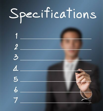 business man writing blank specification list photo