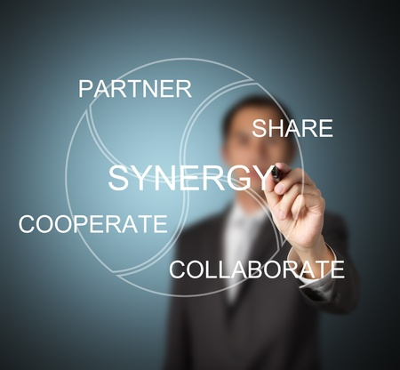 partake: business man writing synergy concept ( partner, share, cooperate, collaborate )