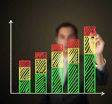 business man drawing growth stack bar chart Stock Photo - 13478444