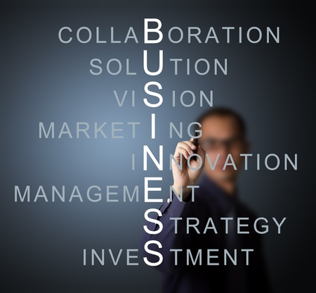 business man writing business concept by crossword component   vision - strategy - management - investment - innovation collaboration - marketing - solution   Stock Photo - 13478419