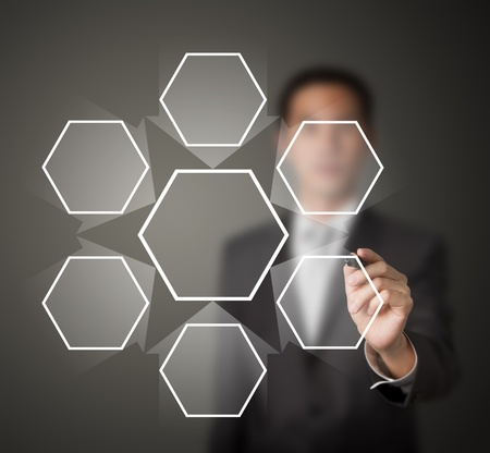 blank center: business man writing one core centralize from six component diagram in blank Stock Photo