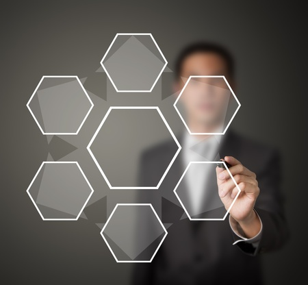disperse: business man writing one core decentralize to six component diagram in blank Stock Photo