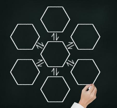 diagrama procesos: centro de la mano dibujo vinculado diagrama de proceso reversible en blanco en la pizarra