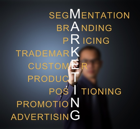 business man writing marketing concept by crossword component ( branding - pricing - positioning - product - promotion - advertising - trademark - segmentation - customer ) Stock Photo