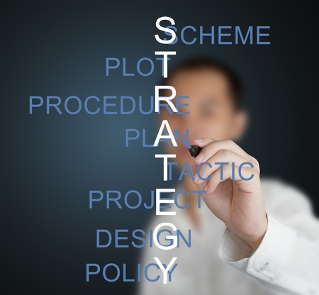 business man writing strategy concept crossword by related meaning word ( scheme - plot - procedure - plan - tactic - project - design - policy ) photo