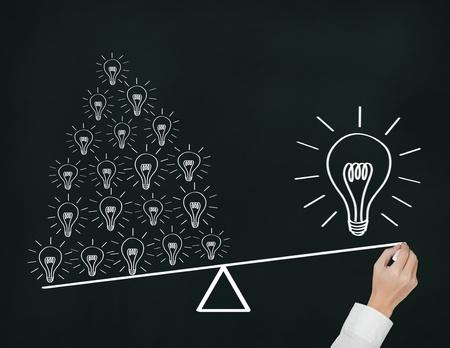 palanca: Concepto de escritura a mano de muchas pequeñas ideas son más importantes que una gran idea expreso por equilibrar el peso de la palanca