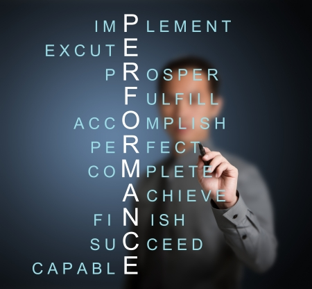 performances: business man writing performance concept by crossword of relate word such as achieve, complete, prosper, accomplish, perfect, etc