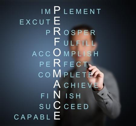 personas comunicandose: hombre de negocios por escrito por el concepto de rendimiento de las palabras cruzadas se refieren palabra como lograr, completar, prosperar, lograr, perfecta, etc,