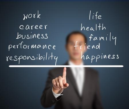 balanza en equilibrio: hombre de negocios equilibrar su trabajo y la vida en la punta de los dedos