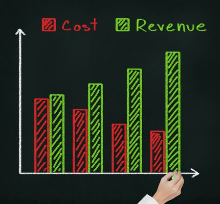 upward graph: hand drawing financial graph of revenue compare with cost Stock Photo