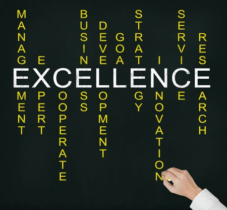 relate: hand writing excellence business concept by crossword of relate word such as expert, development, strategy, research etc  Stock Photo