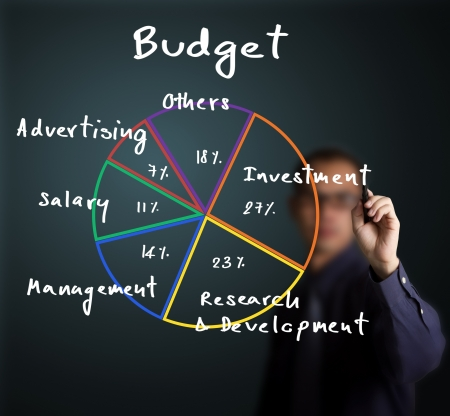 accounting: business man writing budget allocation pie chart