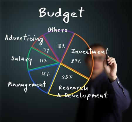 graficas de pastel: hombre de negocios por escrito la asignaci�n de presupuesto de un gr�fico de tarta