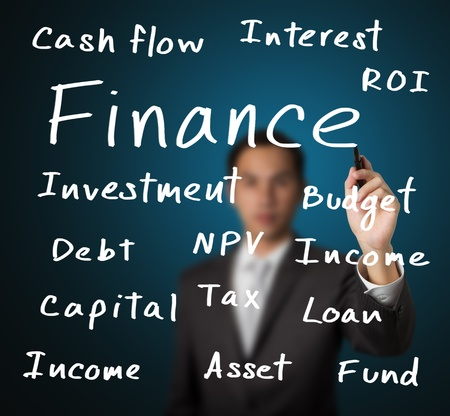 cost of education: business man writing finance concept Stock Photo