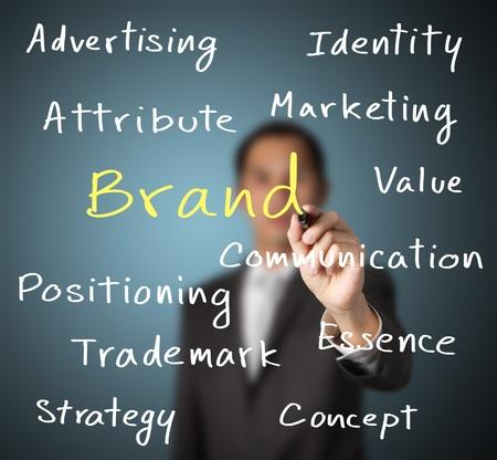 hombre de negocios por escrito concepto de marketing de la marca Foto de archivo