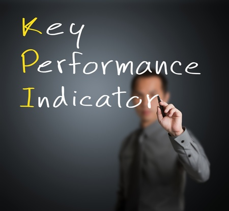 pen quality: business man writing key performance indicator   KPI   concept